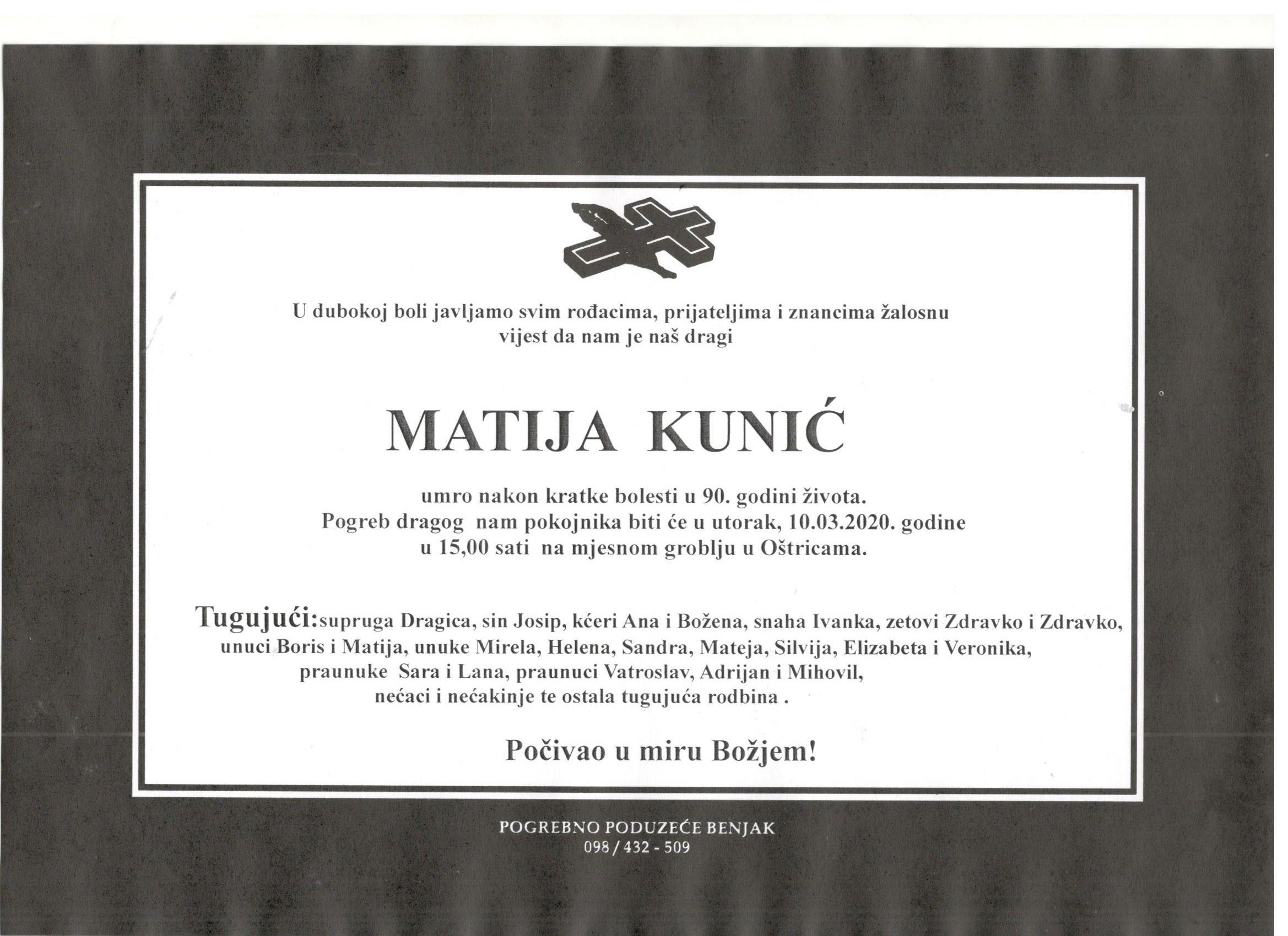 Osmrtnica - Matija Kunić
